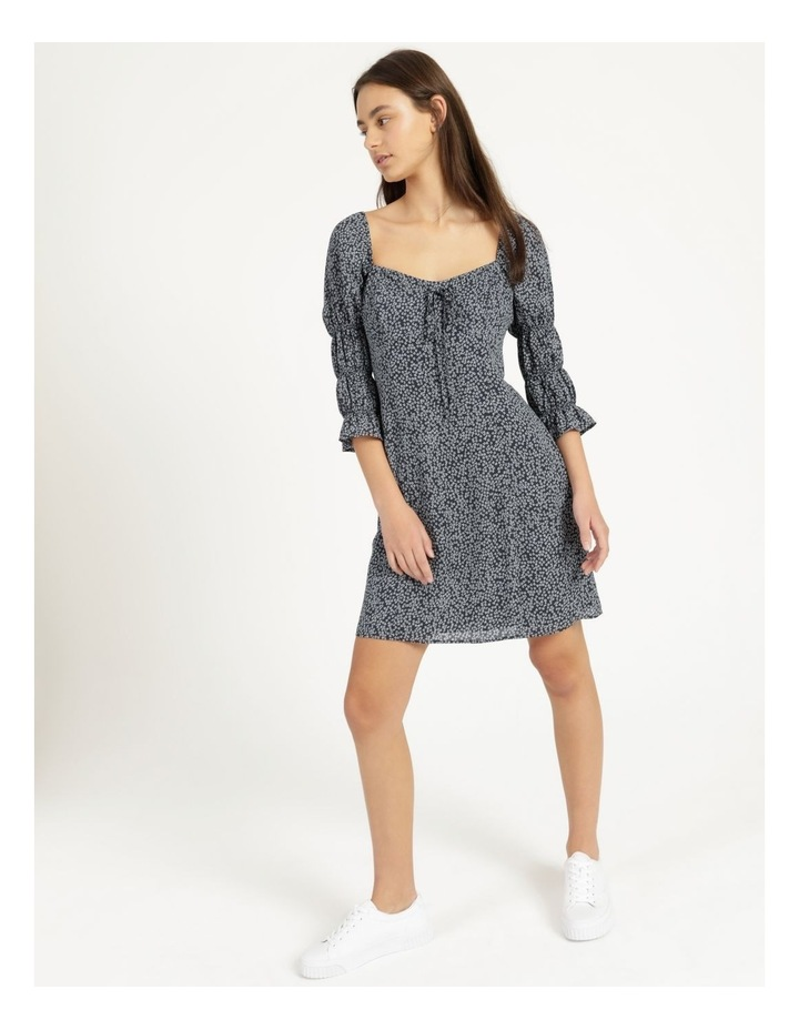 Sweetheart Bodice Blue/White Ditsy Mini Dress image 2