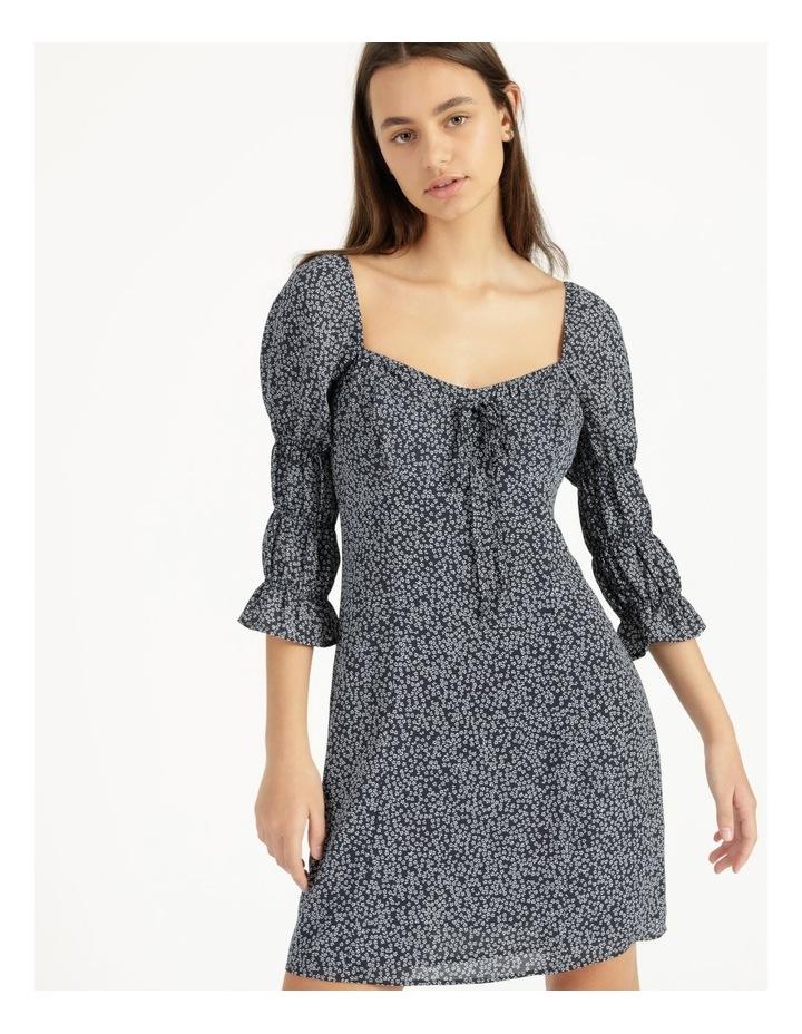Sweetheart Bodice Blue/White Ditsy Mini Dress image 3