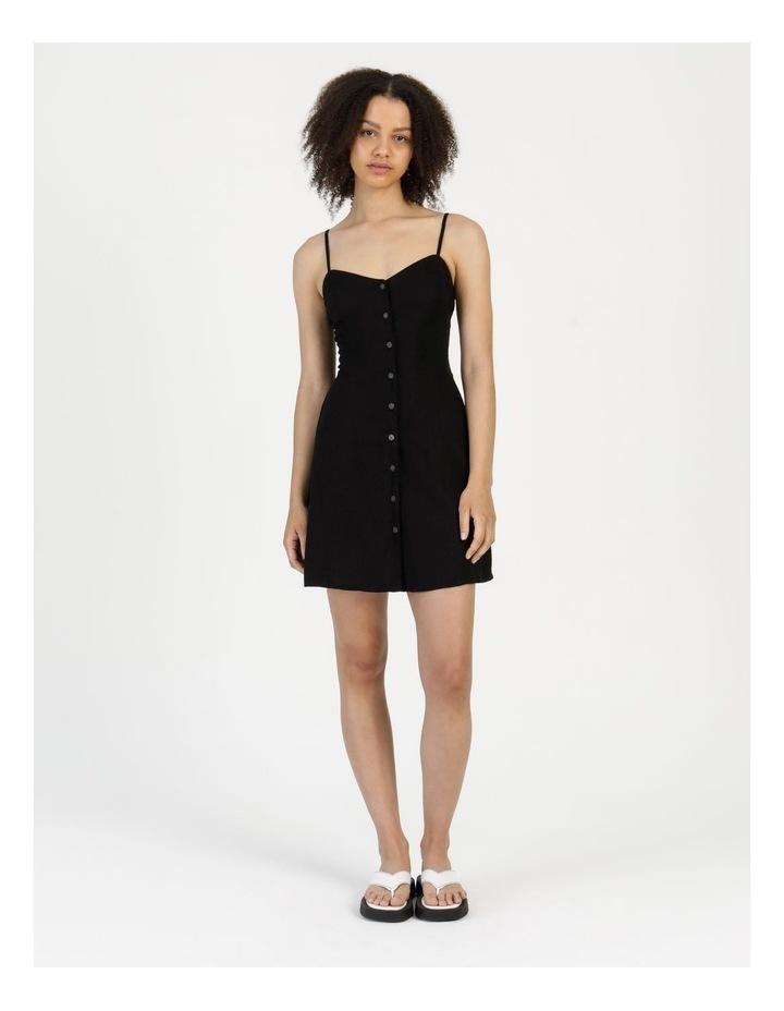 Linen Blend Button Thru Dress Black image 1