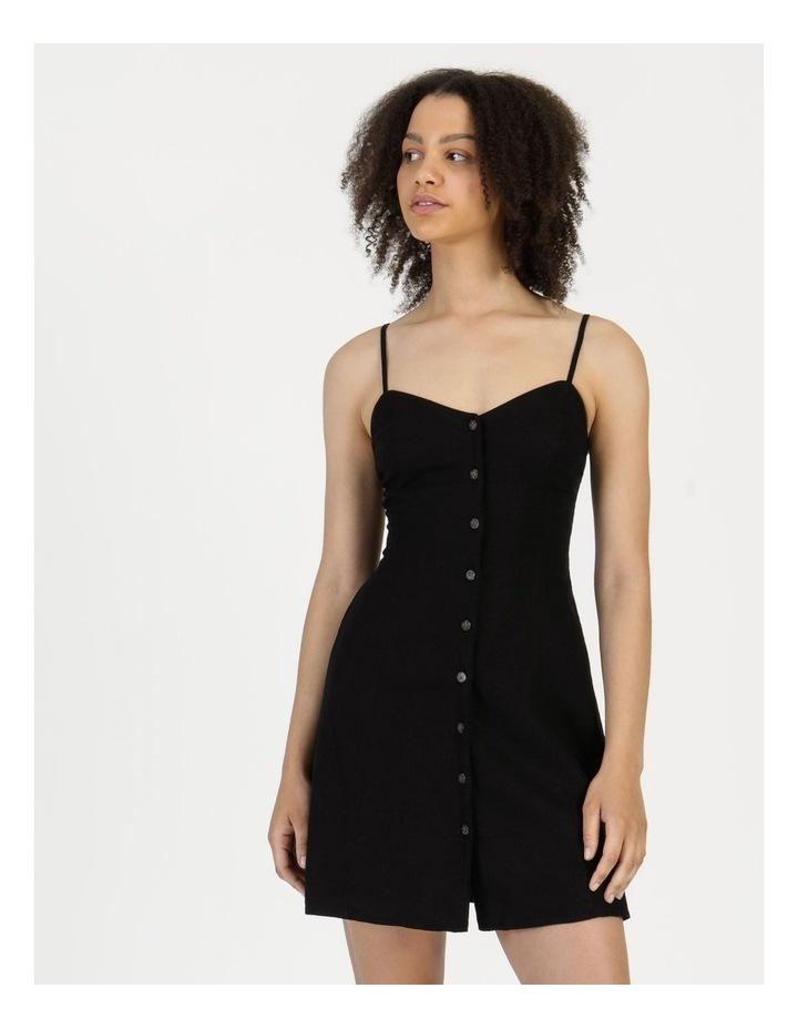Linen Blend Button Thru Dress Black image 2