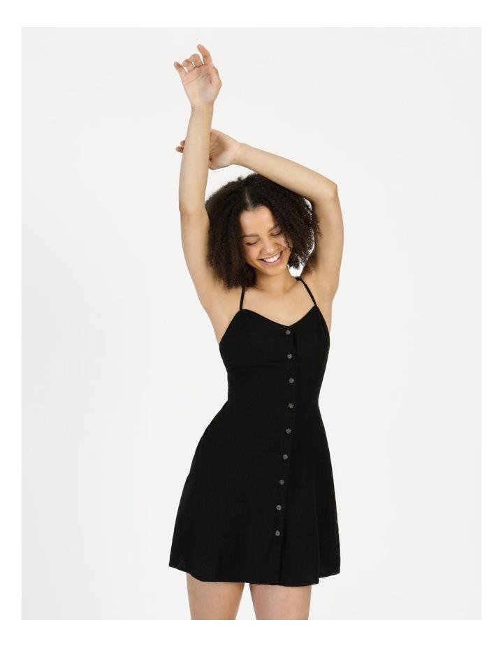 Linen Blend Button Thru Dress Black image 4