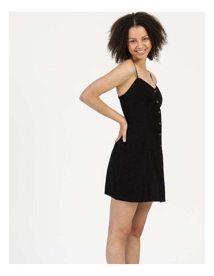 Linen Blend Button Thru Dress Black image 5