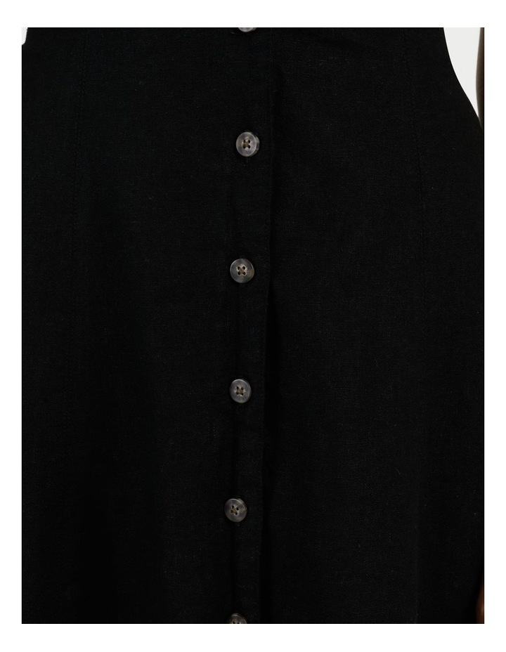 Linen Blend Button Thru Dress Black image 7