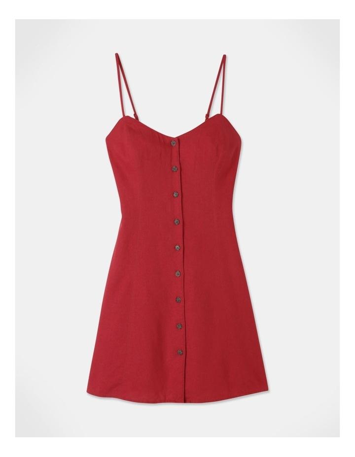 Linen Blend Button Thru Dress Cherry image 1