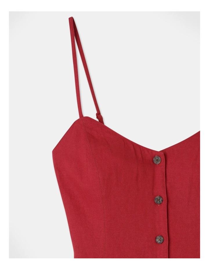Linen Blend Button Thru Dress Cherry image 2