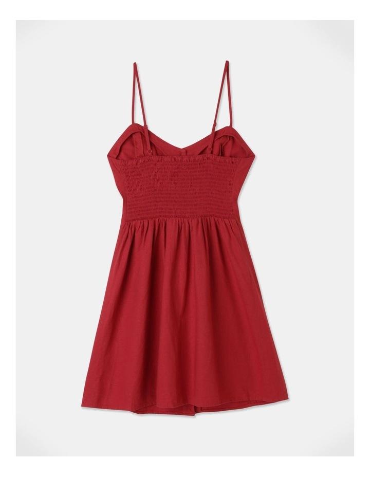 Linen Blend Button Thru Dress Cherry image 3