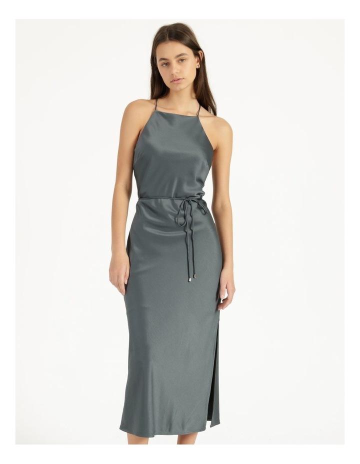 Halter Neck Slip Dress Green image 1