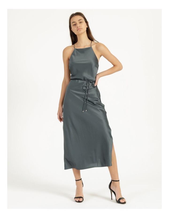 Halter Neck Slip Dress Green image 3