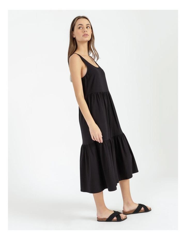 Tiered Scoop Neck Midi Dress Black image 1