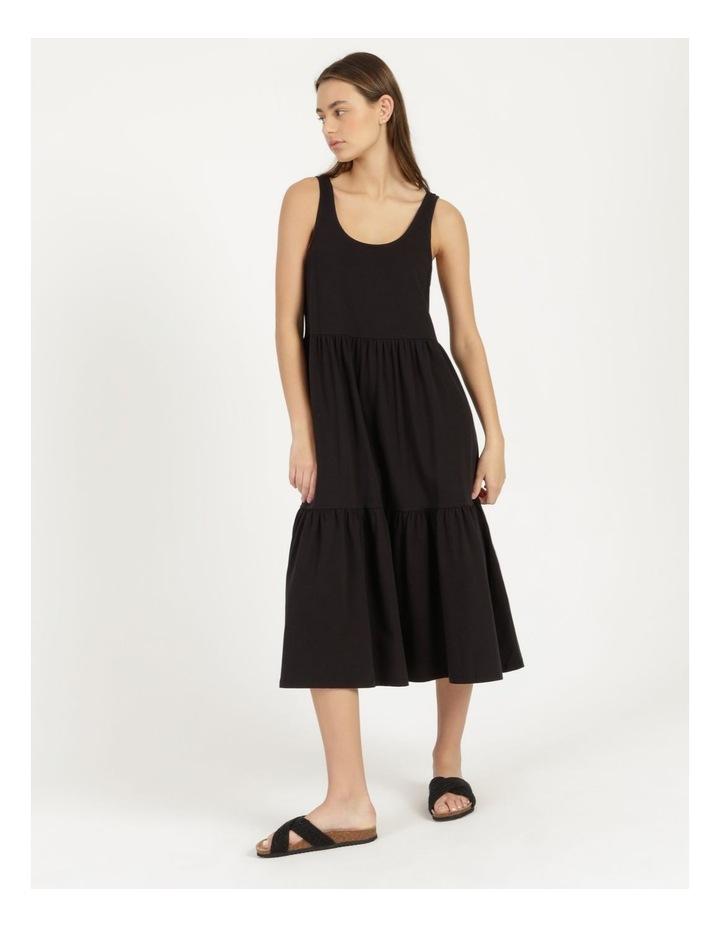 Tiered Scoop Neck Midi Dress Black image 2