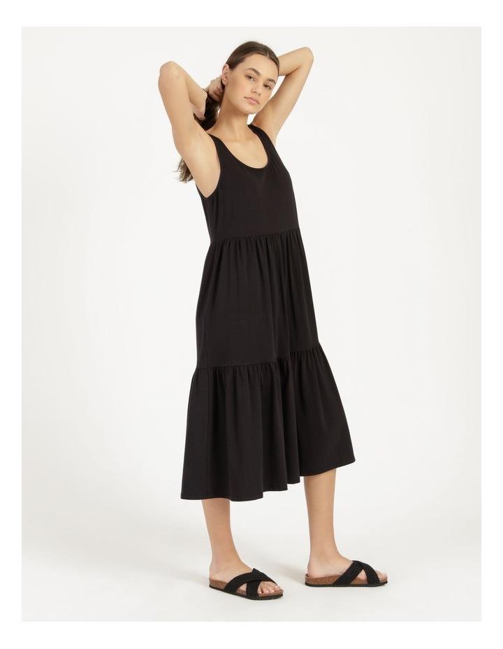 Tiered Scoop Neck Midi Dress Black image 4