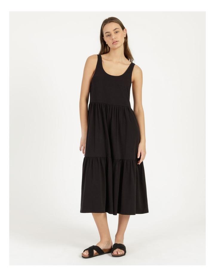 Tiered Scoop Neck Midi Dress Black image 5