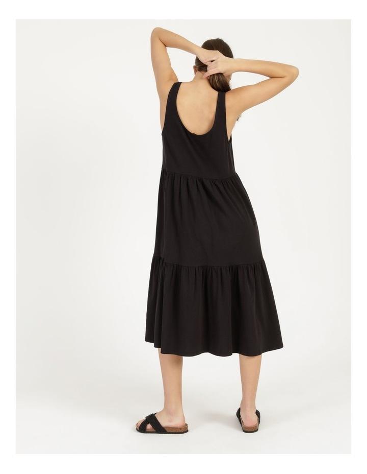 Tiered Scoop Neck Midi Dress Black image 6