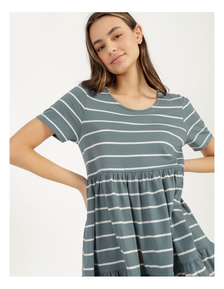 Baby Doll Tiered Tee Dress Teal Stripe image 1