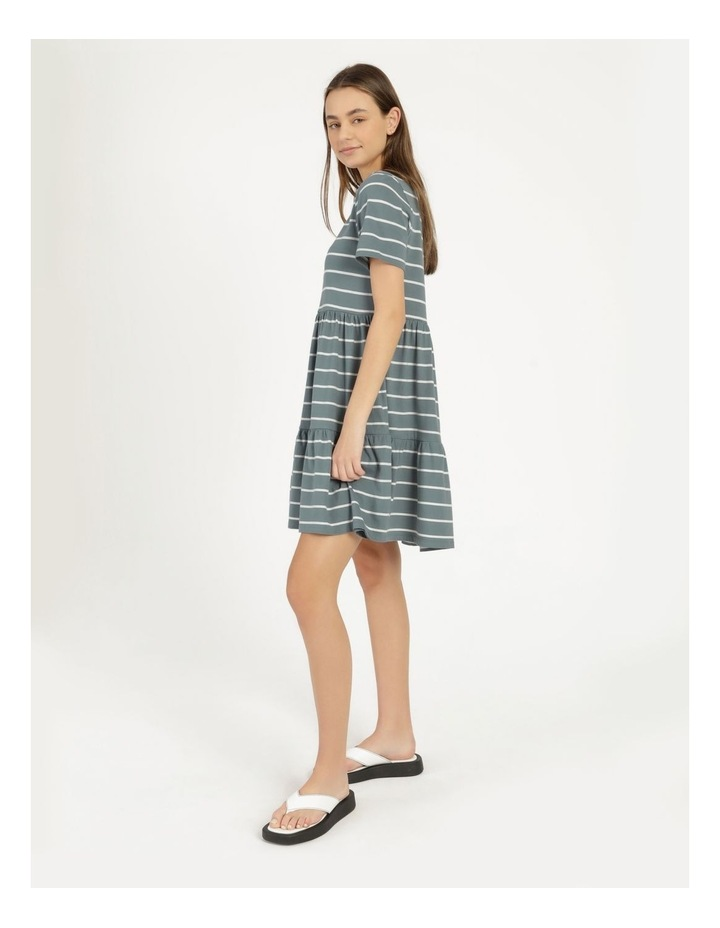 Baby Doll Tiered Tee Dress Teal Stripe image 2