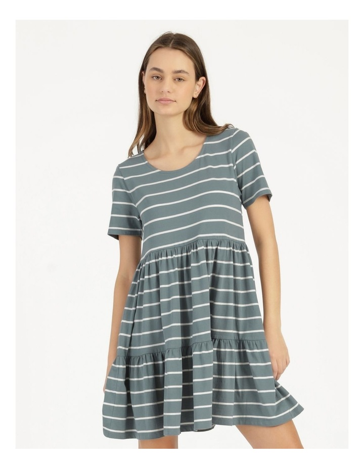 Baby Doll Tiered Tee Dress Teal Stripe image 3