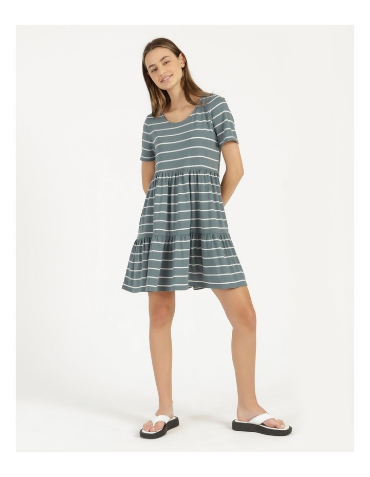 Baby Doll Tiered Tee Dress Teal Stripe image 4