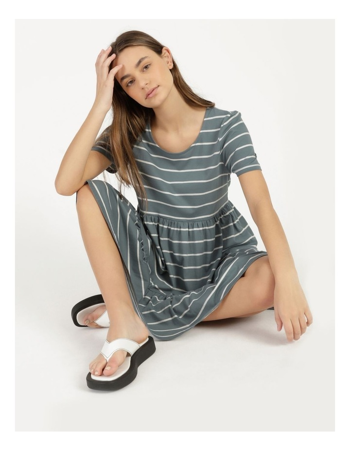 Baby Doll Tiered Tee Dress Teal Stripe image 6