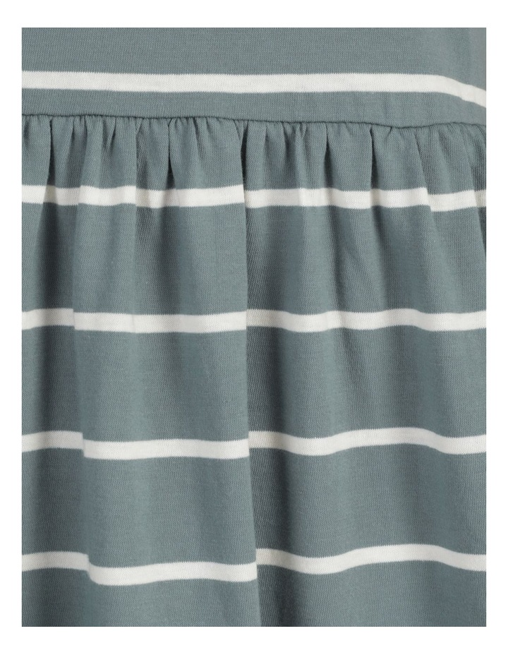 Baby Doll Tiered Tee Dress Teal Stripe image 7