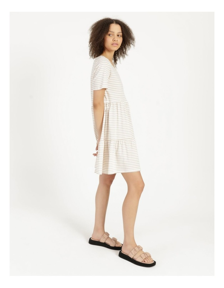 Baby Doll Tiered Tee Dress Off White image 1