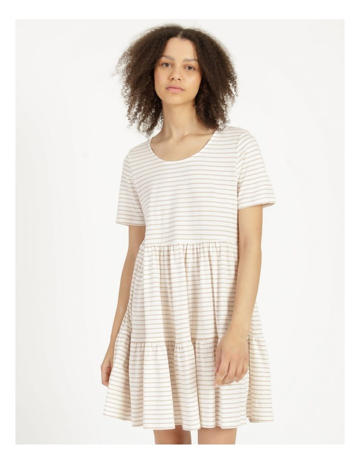 Baby Doll Tiered Tee Dress Off White image 2