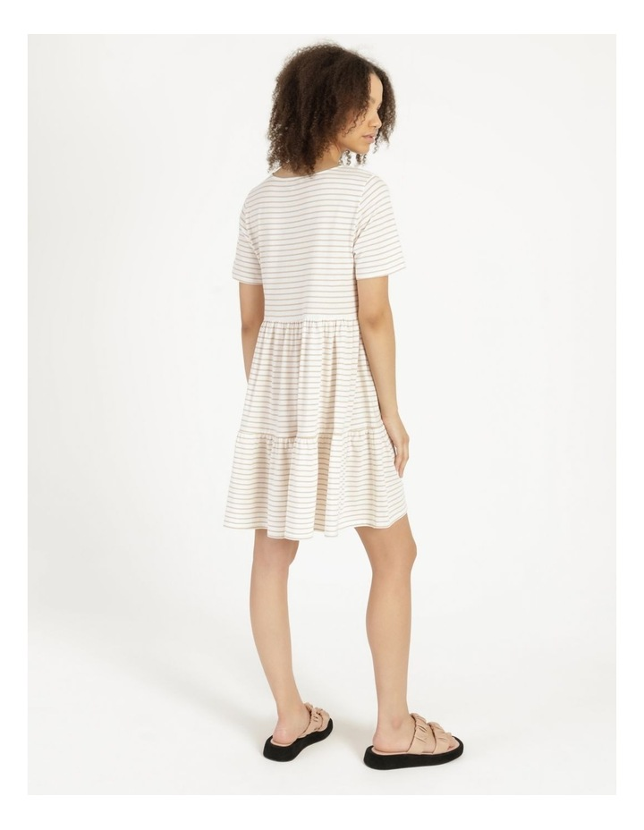 Baby Doll Tiered Tee Dress Off White image 3