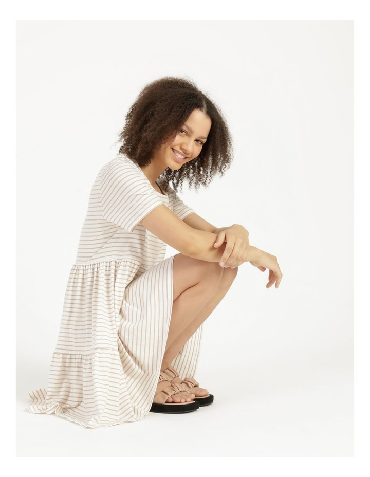 Baby Doll Tiered Tee Dress Off White image 4