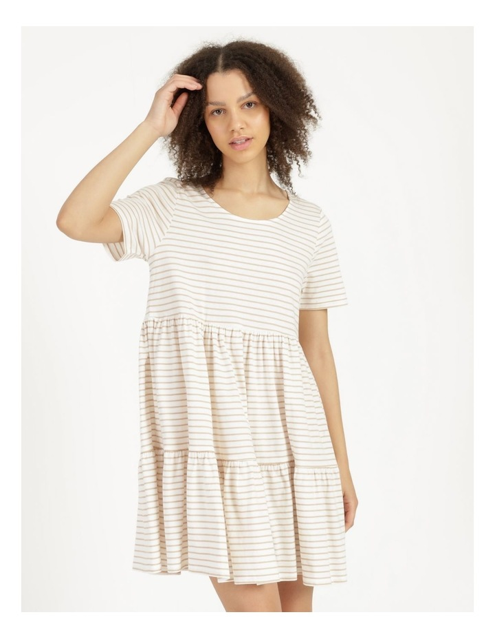 Baby Doll Tiered Tee Dress Off White image 5