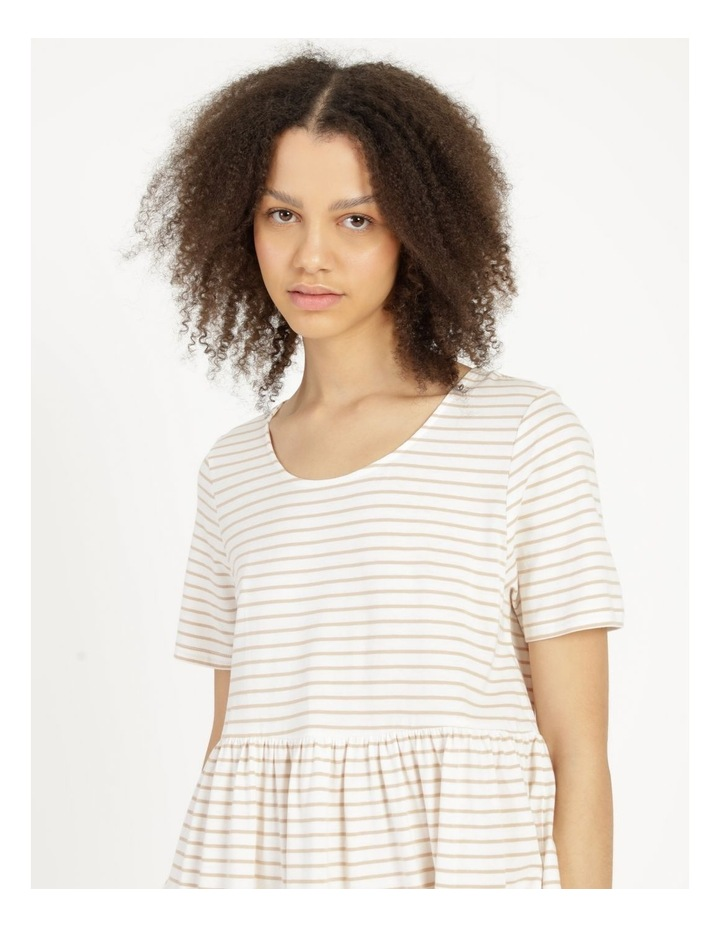 Baby Doll Tiered Tee Dress Off White image 6