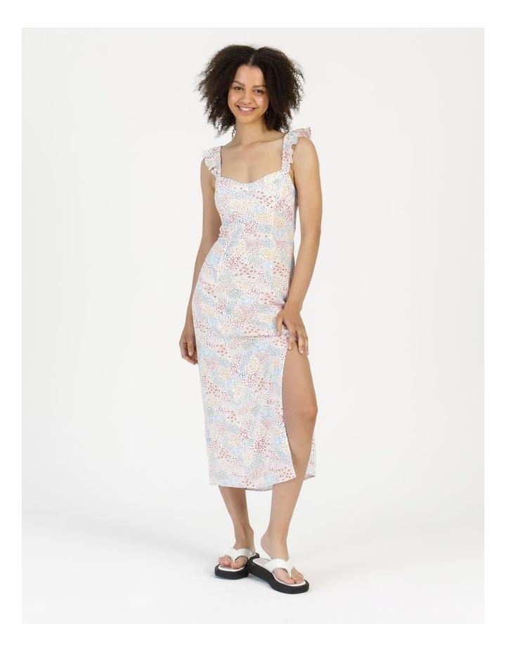 Corset Detail Ruffle Strap Midi Dress Floral Reef Print image 1