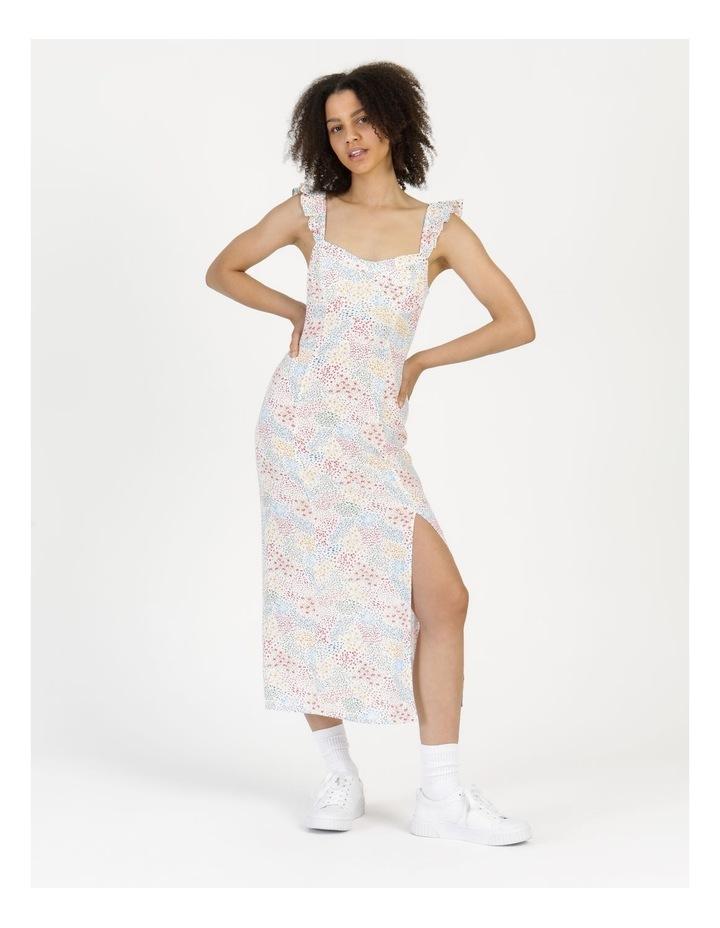 Corset Detail Ruffle Strap Midi Dress Floral Reef Print image 4