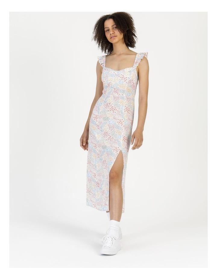 Corset Detail Ruffle Strap Midi Dress Floral Reef Print image 5