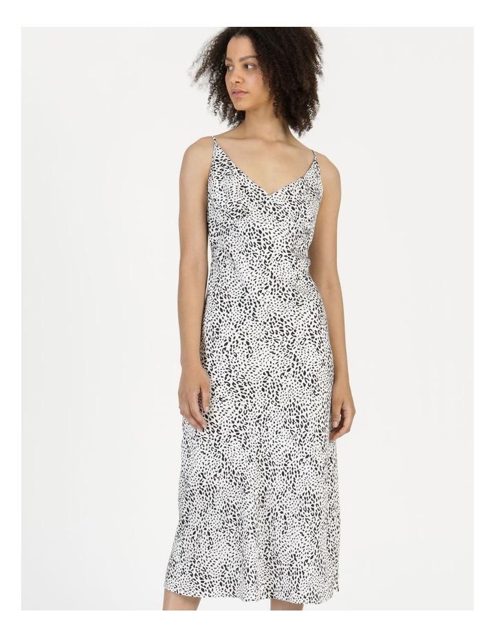 Midi Slip Dress Black/White Animal image 2