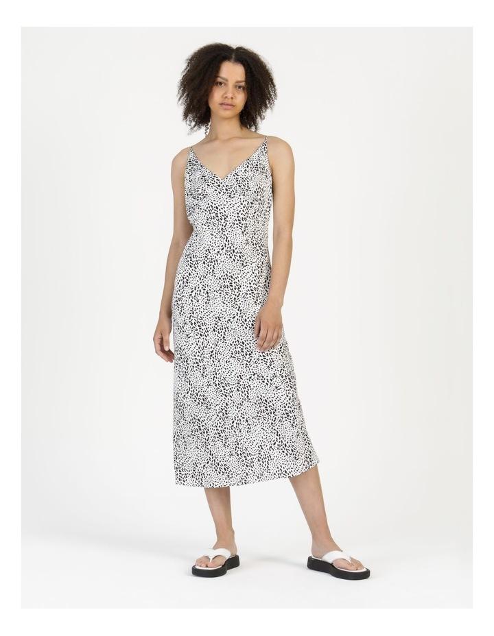 Midi Slip Dress Black/White Animal image 6
