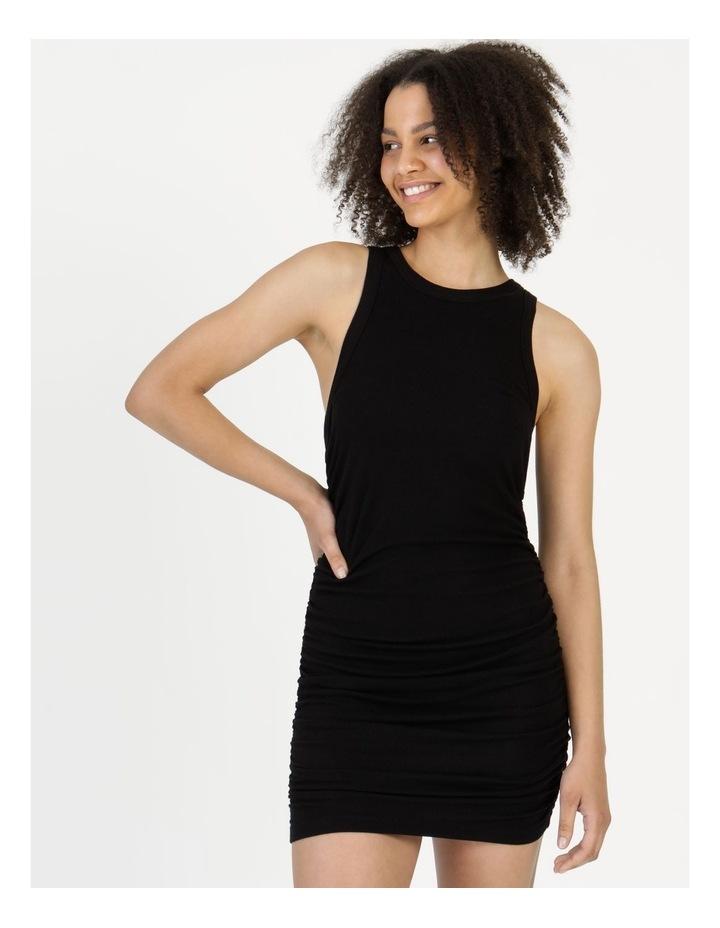 Ruched Mini Dress Black image 1
