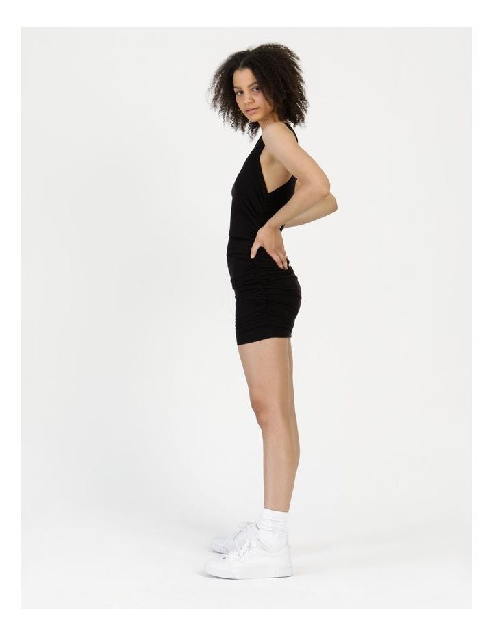 Ruched Mini Dress Black image 2