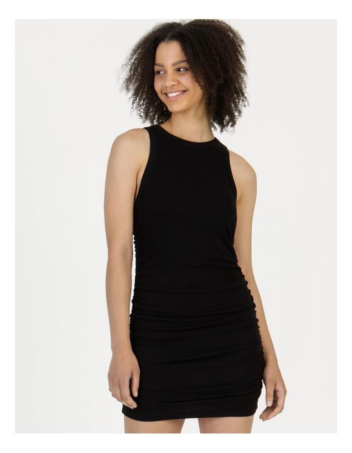 Ruched Mini Dress Black image 3