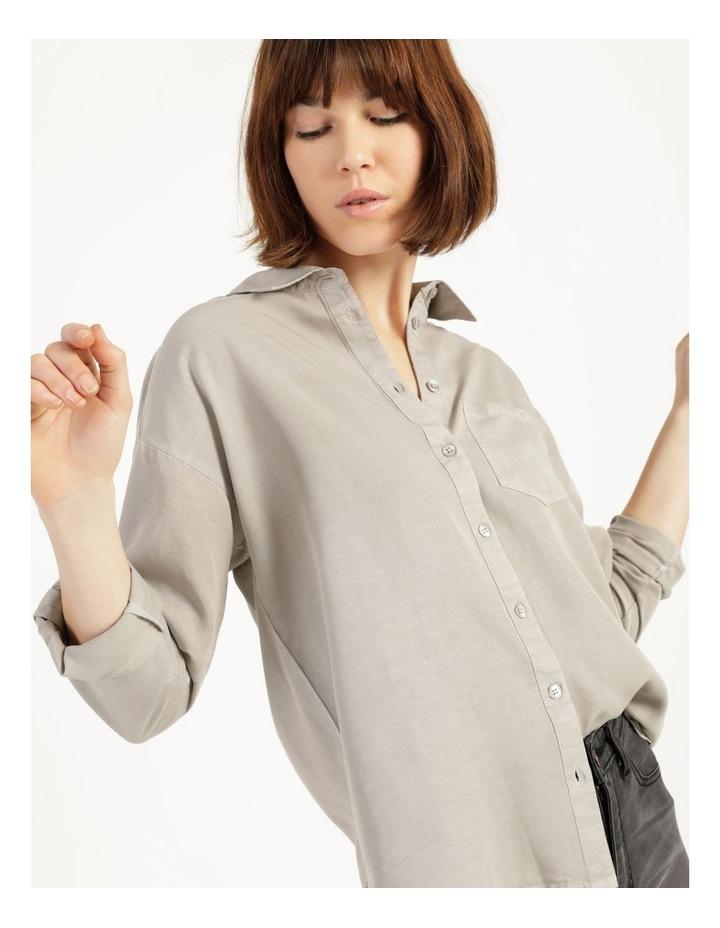 Lyocell Long Sleeve Relaxed Shirt in Khaki image 2