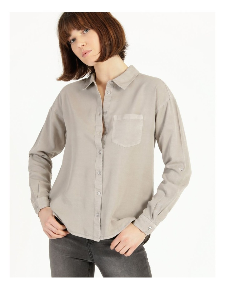 Lyocell Long Sleeve Relaxed Shirt in Khaki image 3