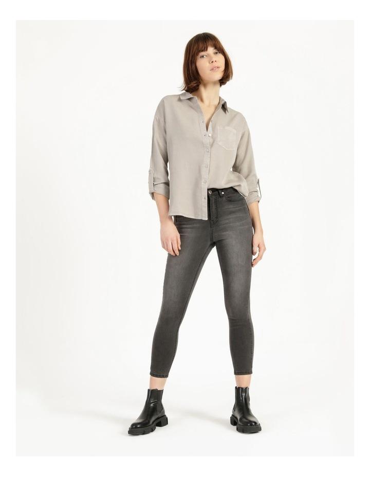 Lyocell Long Sleeve Relaxed Shirt in Khaki image 4