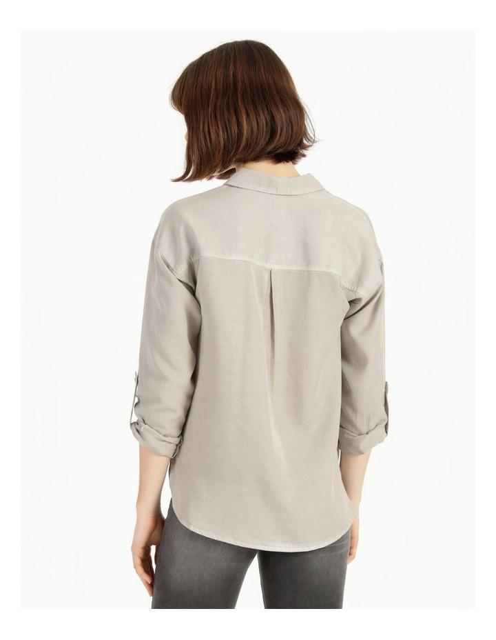 Lyocell Long Sleeve Relaxed Shirt in Khaki image 5