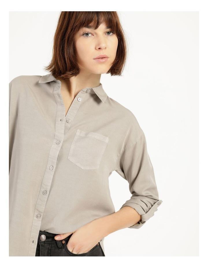 Lyocell Long Sleeve Relaxed Shirt in Khaki image 6
