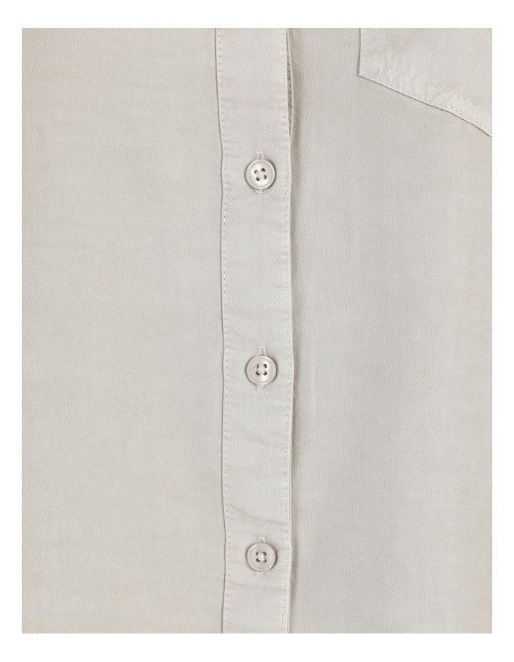 Lyocell Long Sleeve Relaxed Shirt in Khaki image 7