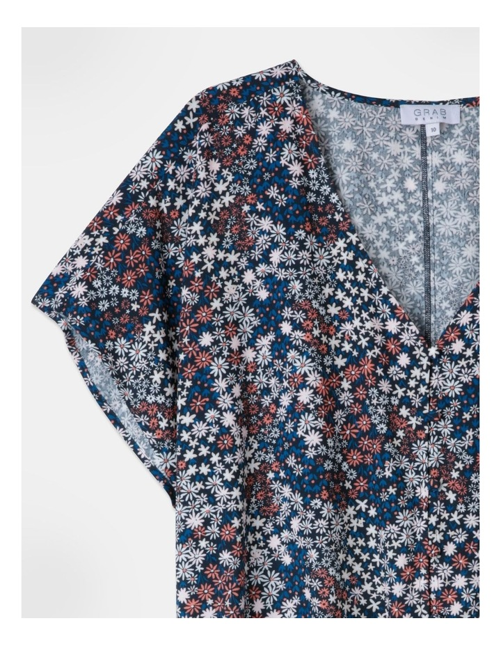 Elastic Waist Cuffed Top Star Floral Print image 2