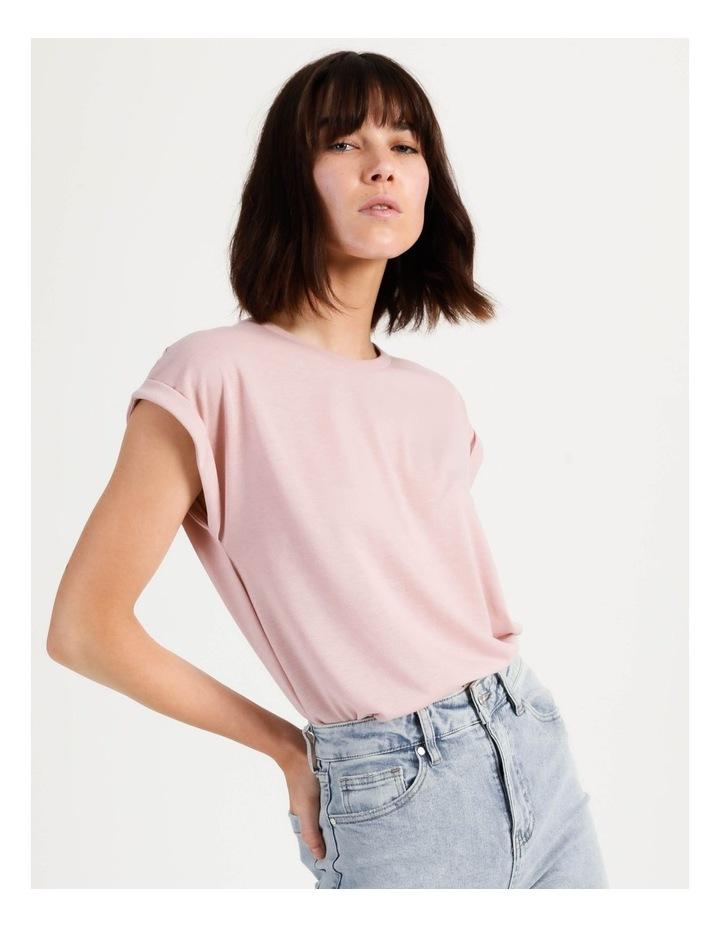 Scoop Neck Linen Blend Tee Blush image 1