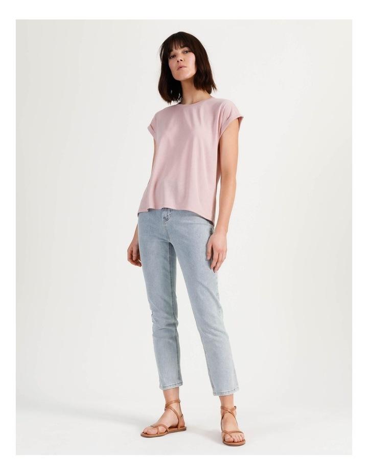 Scoop Neck Linen Blend Tee Blush image 2