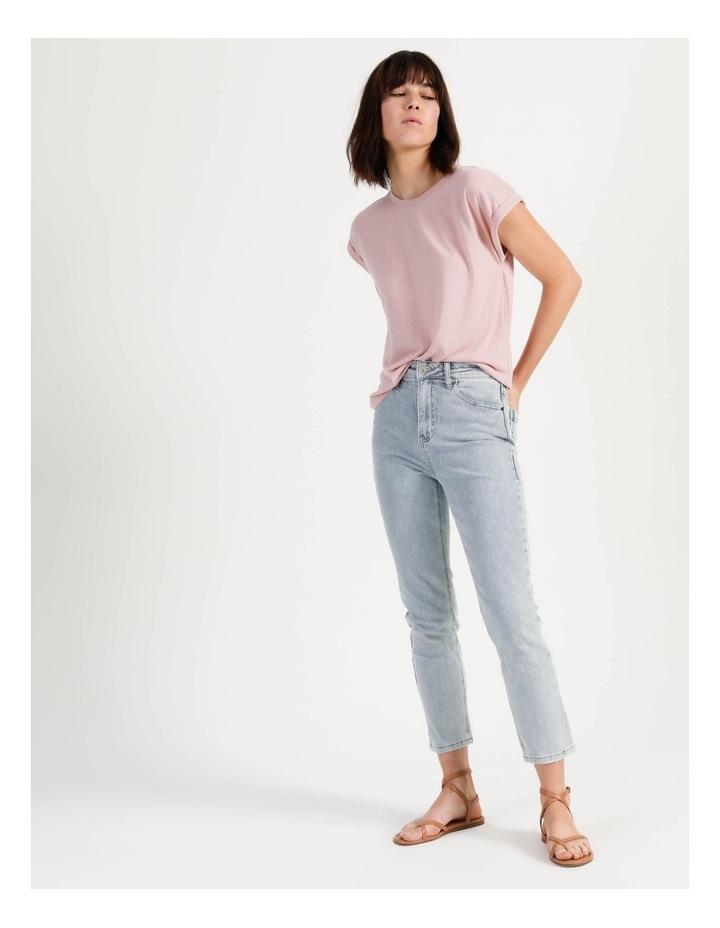 Scoop Neck Linen Blend Tee Blush image 3