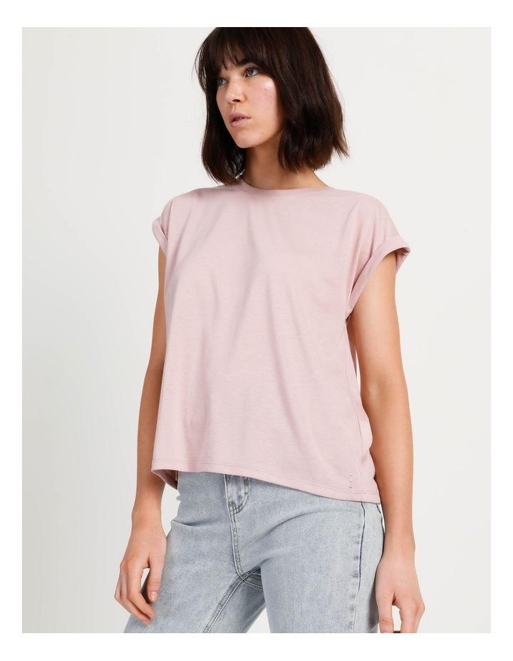 Scoop Neck Linen Blend Tee Blush image 4