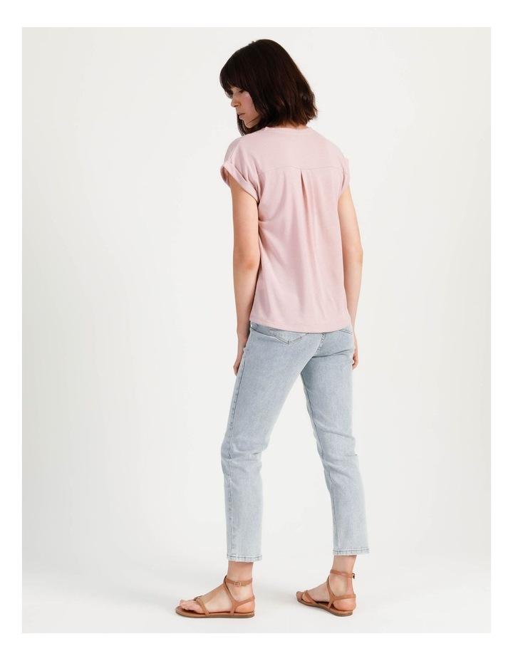 Scoop Neck Linen Blend Tee Blush image 5