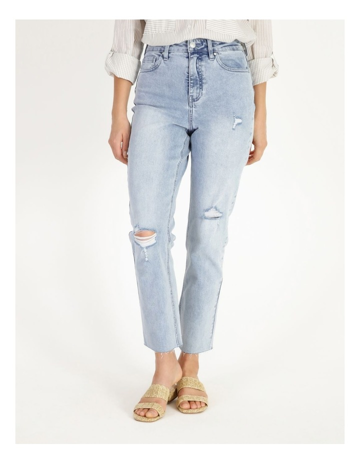 High Rise Straight Distressed Jean image 1